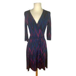 Leota Geo Print Faux Wrap Jersey Dress S